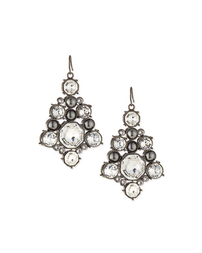 Crystal Octagon Drop Earrings