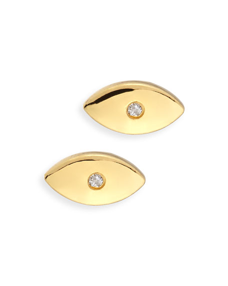 SHY by SE Evil Eye Diamond Stud Earrings