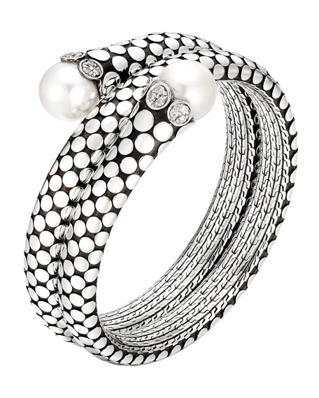 Dot Pearl & Diamond Double Coil Bracelet