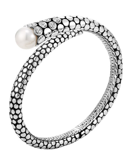 John Hardy Dot Pearl & Diamond Kick Cuff,
