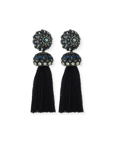Crystal-Detailed Tassel Earrings