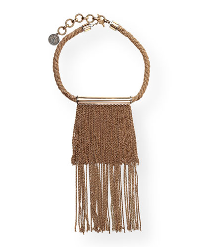 Twisted Golden Fringe Necklace