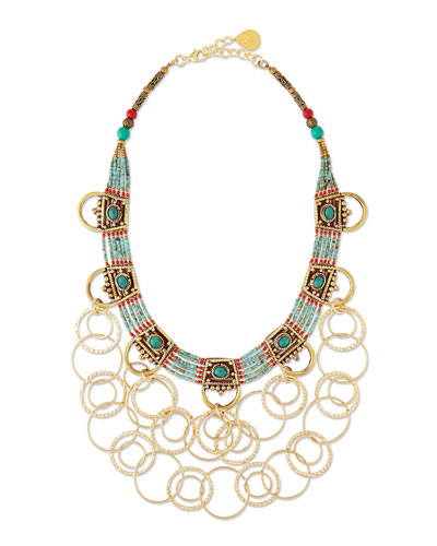 Turquoise Beaded Chain Necklace