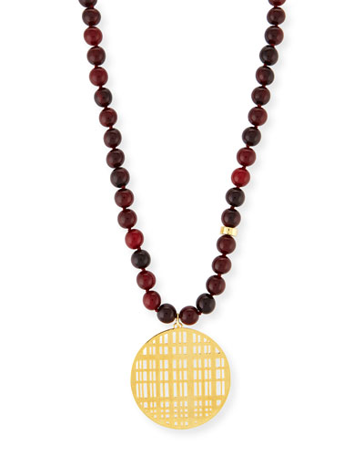 Red Horn Bead Necklace with Pendant, 34