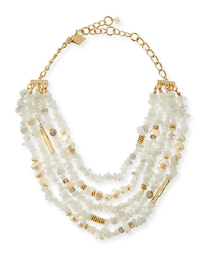 Multi-Strand Agate & Pearl Necklace, White