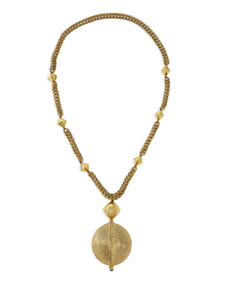 NEST Jewelry Brass Medallion Long Chain Necklace