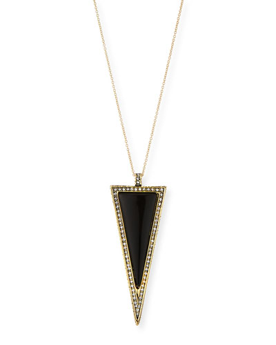 "Delta Triangle Pendant Necklace, 32""L"