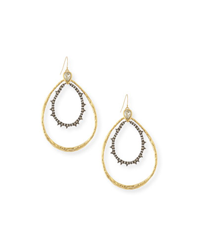 Diamond Punk Spiked Double-Hoop Earrings