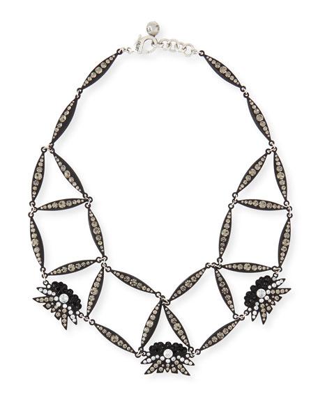 Lulu Frost Larkspur Crystal Web Necklace, Black