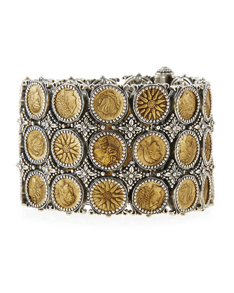 Konstantino Silver & Bronze Wide Coin Bracelet