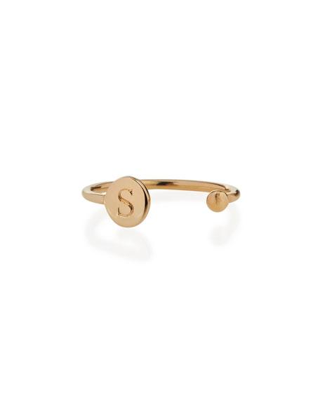 Rocha 14k Gold Initial Open Ball Ring