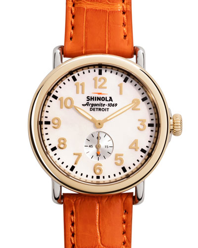 Runwell Golden Watch with Orange Alligator Strap, 38mm