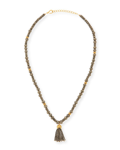 Dina Mackney Shanti Pyrite Long Tassel Necklace