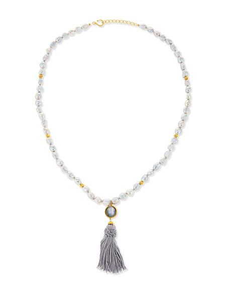 Dina Mackney Baroque Pearl Tassel Necklace