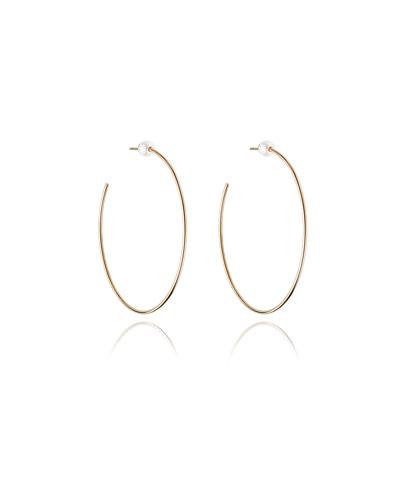 Large Rose Gold-Plated Pearl Hoop Earrings