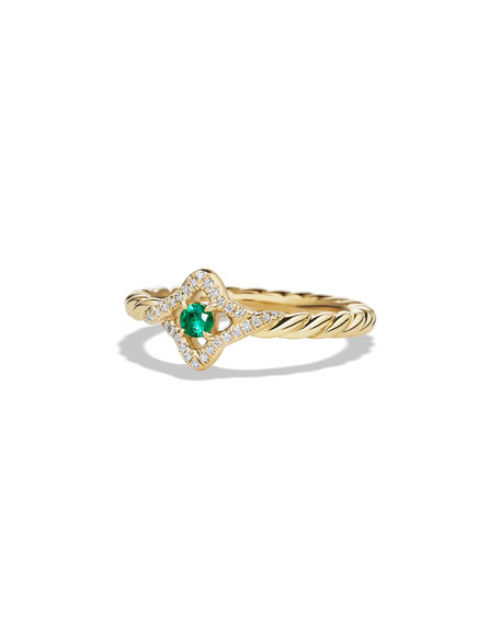 David Yurman 5mm Venetian Quatrefoil Emerald Ring, Size