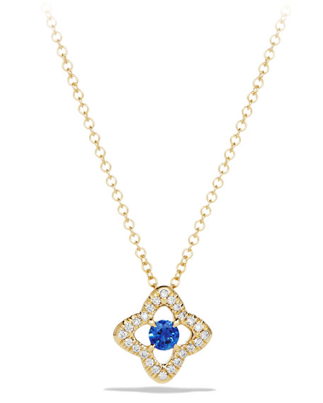 David Yurman 5mm Venetian Quatrefoil Blue Sapphire Necklace