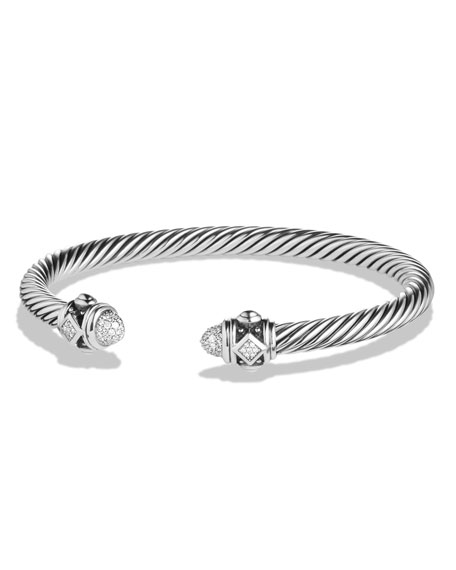 David Yurman 5mm Renaissance Sterling Silver Bracelet w/White
