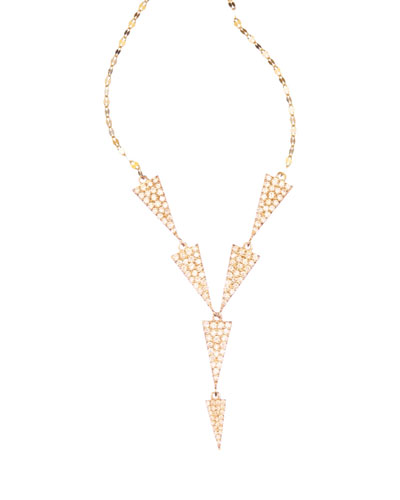14k Electric Triangle Diamond Lariat Necklace