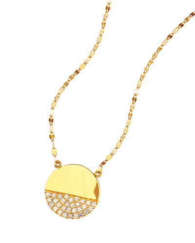 14k Illusion Disc Diamond Pendant Necklace
