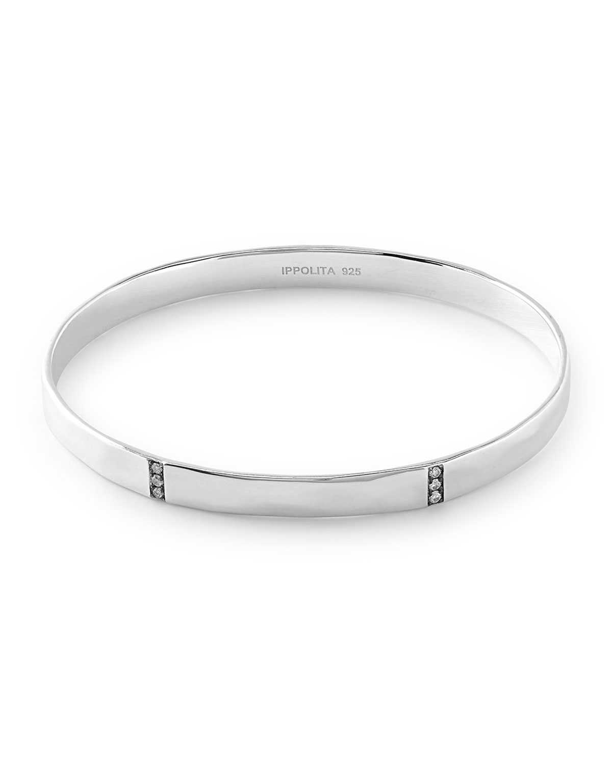 Ippolita Sterling Silver Senso™ 3-Section Medium Bangle with Diamonds