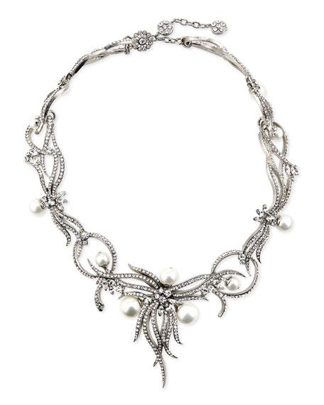 Rhodium-Plated Statement Necklace