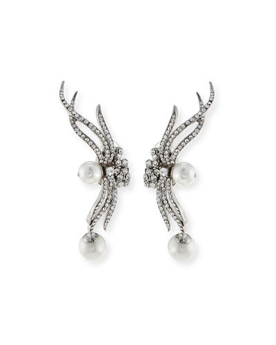 Rhodium-Plated Clip Earrings
