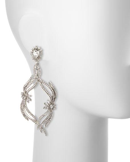 Pavé Crystal Swirl Drop Clip Earrings