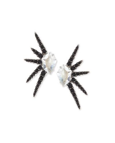 Marquis Clear Quartz Pave Starburst Earrings