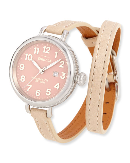 Shinola 34mm Birdy Silvertone Double-Wrap Watch, Winter White