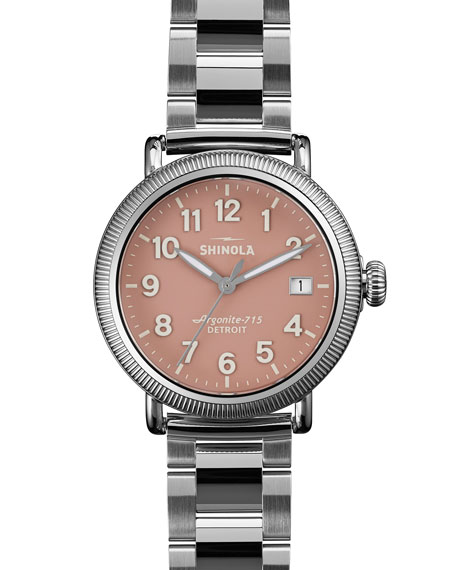 Runwell Stainless Steel Coin Edge Watch with Bracelet Strap, 38mm