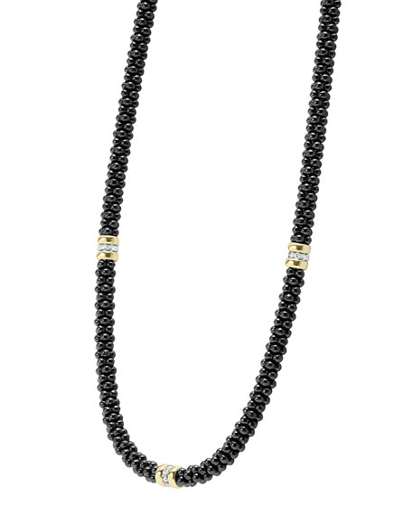 Black Caviar Ceramic Necklace With Diamond And 18K Gold Stations, 16