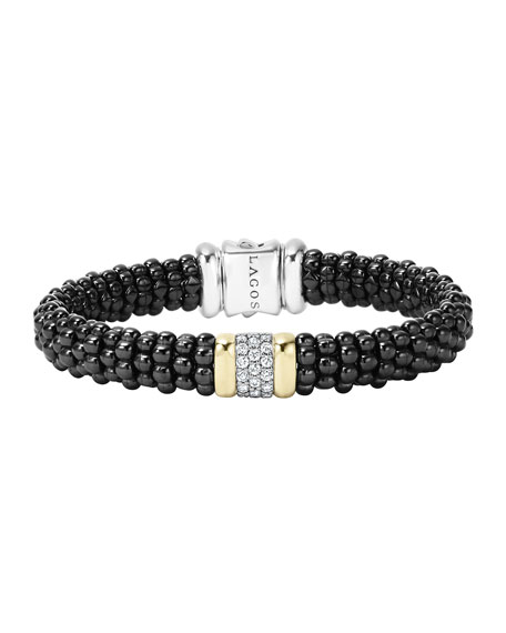 Lagos Black Caviar Small Diamond Station Bracelet, 9mm