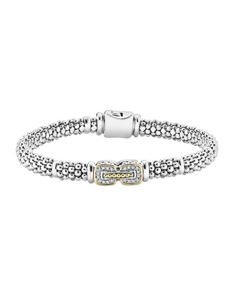 Lagos Pave Diamond Cushion Rope Bracelet, 6mm