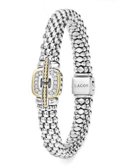 Pave Diamond Cushion Rope Bracelet, 9mm