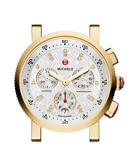 MICHELE 18mm 18K Gold-Plated Sport Sail Diamond-Dial Watch