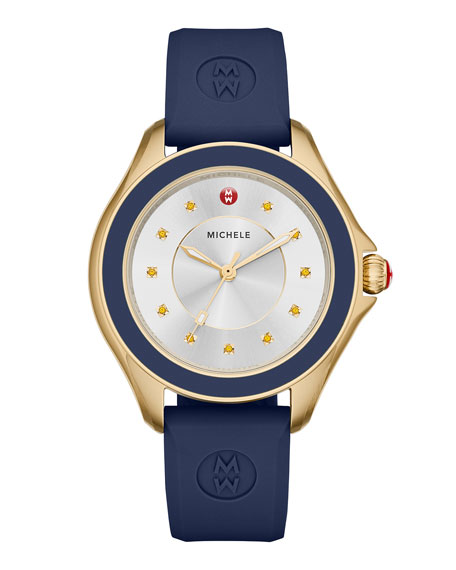 MICHELE Cape Topaz Watch w/Silicone Strap, Navy