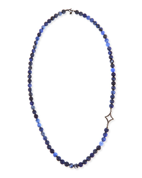 Armenta Sodalite Beaded Necklace with Diamond Cravelli