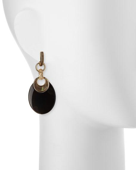 Infinity Link Dangle Earrings, Black