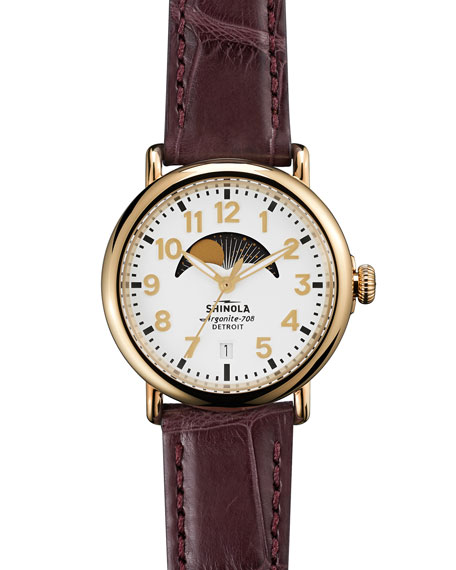Runwell Moon Phase Alligator-Strap Watch, 36mm