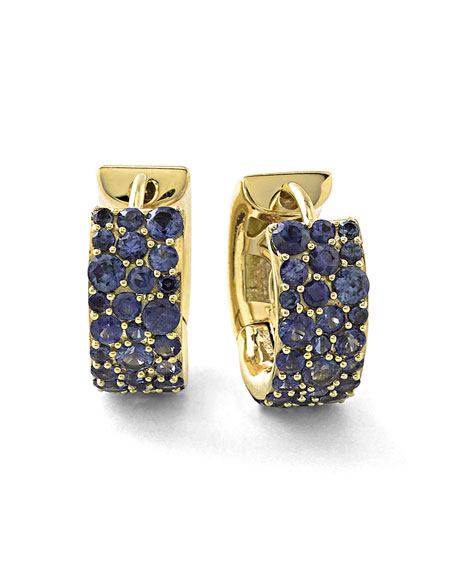 Ippolita 18k Glamazon Stardust Small Sapphire Hoop Earrings