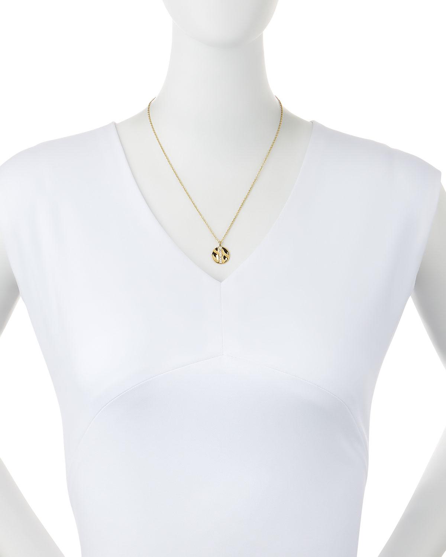 Ippolita 18K Gold Senso Medium 15.5mm Disc Pendant Necklace with Diamonds P4Tidtp