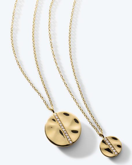 Image 2 of 3: Ippolita 18K Gold Senso™ Medium 15.5mm Disc Pendant Necklace with Diamonds