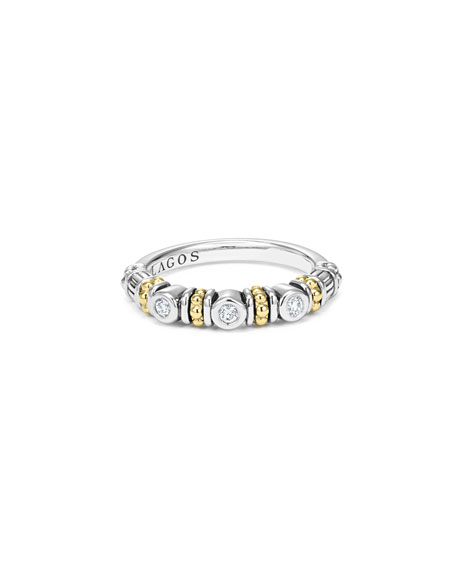 Caviar Beaded Diamond Stacking Ring, Size 7
