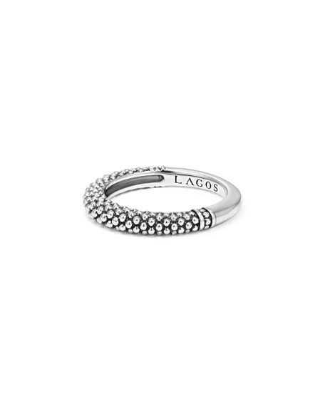 Silver Caviar Stackable Ring, Size 7