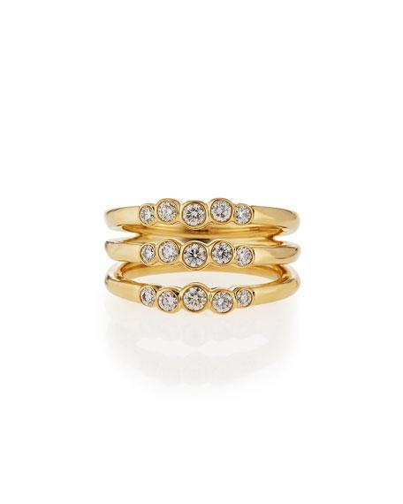 Ippolita 18k Glamazon Stardust Diamond Triple Starlet Ring