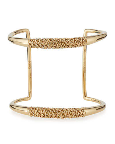 Chain-Wrapped Open Cuff Bracelet