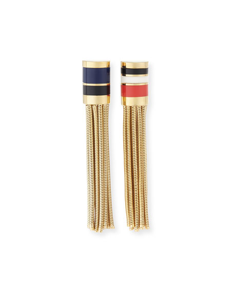 Lanvin Golden Chain Tassel Clip Earrings, Coral Multi