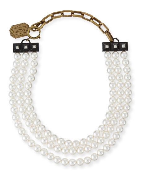Lanvin Short Pearly Necklace with Tassel Ends, 17.3
