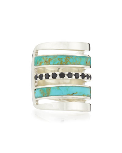 Silver Turquoise-Inlay Ring with Black Spinel